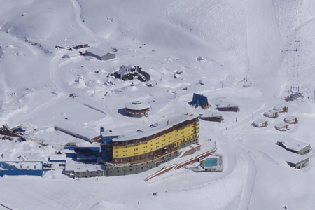 "The bird's-eye view of Hotel Portillo - a virtual ""cruise ship"" in the mountains."